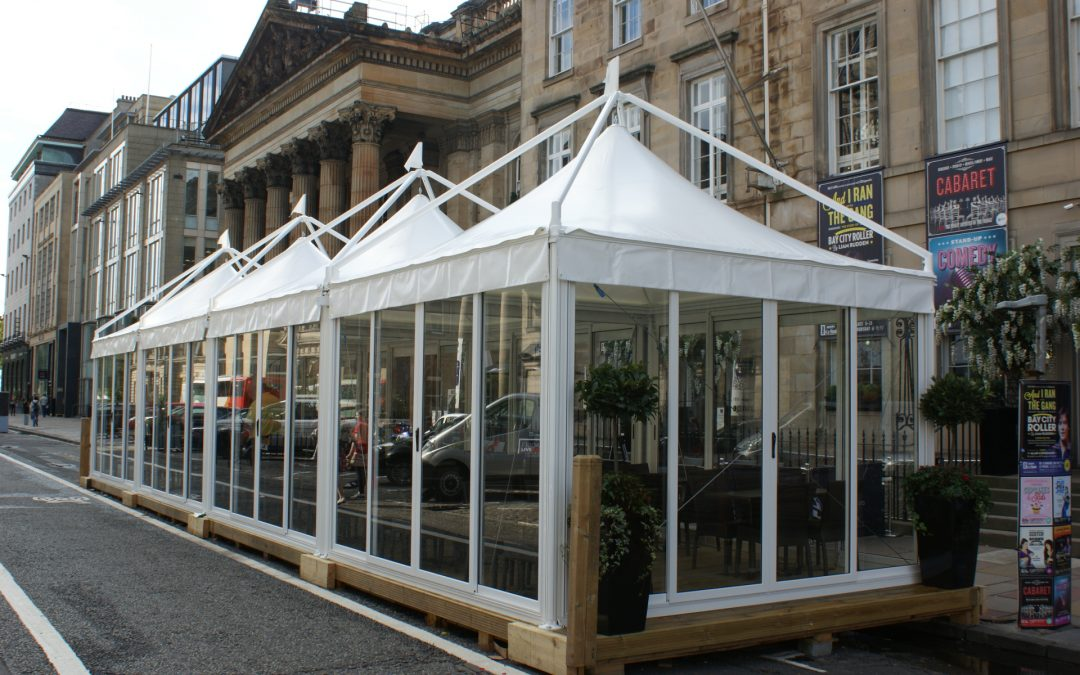Purvis Marquees, restaurants, street dining, giulio barbieri, sliding glass sides, joined pagodas