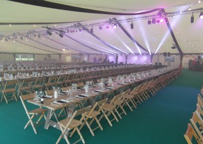 Purvis Marquees, Corporate Marquee Interior, Stage and Lighting, Vintage Furniture